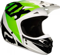 Мотошлем Fox V1 Race Helmet White/Black/Green XS 53-54cm (19532-129-XS)