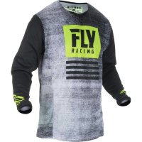 Футболка для мотокросса FLY RACING KINETIC NOIZ черная/Hi-Vis желтая (2019)  XXL